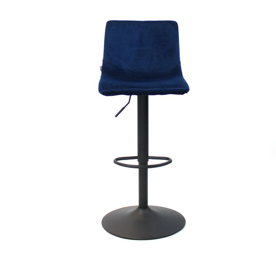 Gastro Barhocker Samt Frenkie blau höhenverstellbar 59 - 76 cm