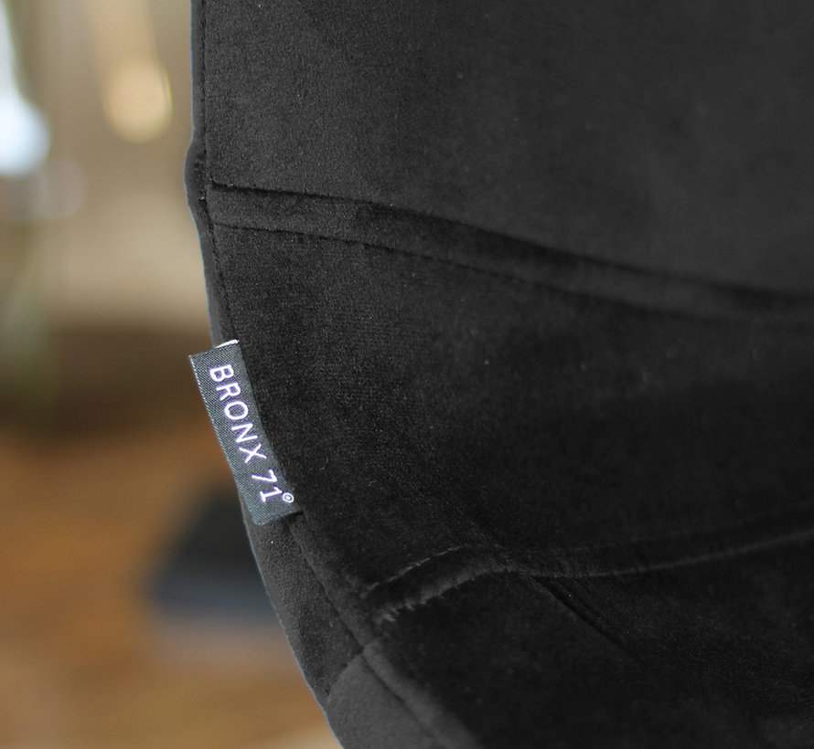 Gastro Barhocker Samt Frenkie schwarz höhenverstellbar 59 - 76 cm