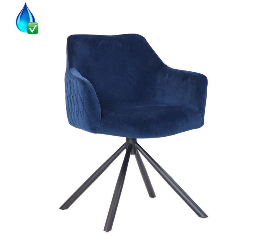 Polsterstuhl Samt Furtado 180° drehbar mit Armlehne dunkelblau