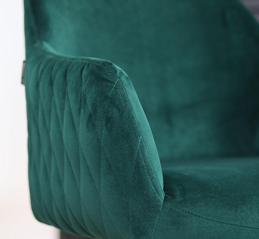 Polsterstuhl Samt Furtado 180° drehbar mit Armlehne dunkelgrün