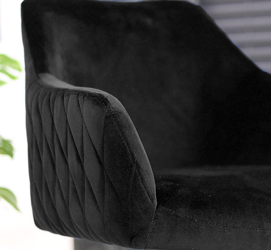 Polsterstuhl Samt Furtado 180° drehbar mit Armlehne schwarz