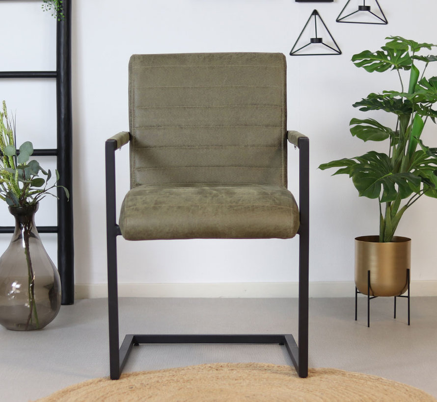 Gastro Stuhl Block mit Armlehne 100% Leder olivgrün