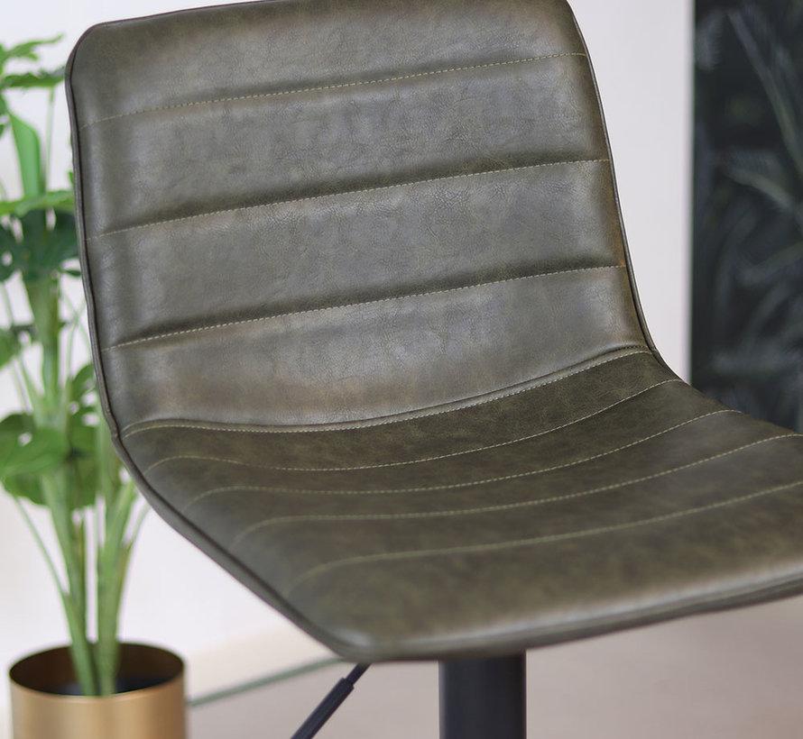 Barhocker Boston höhenverstellbar Leder olivgrün