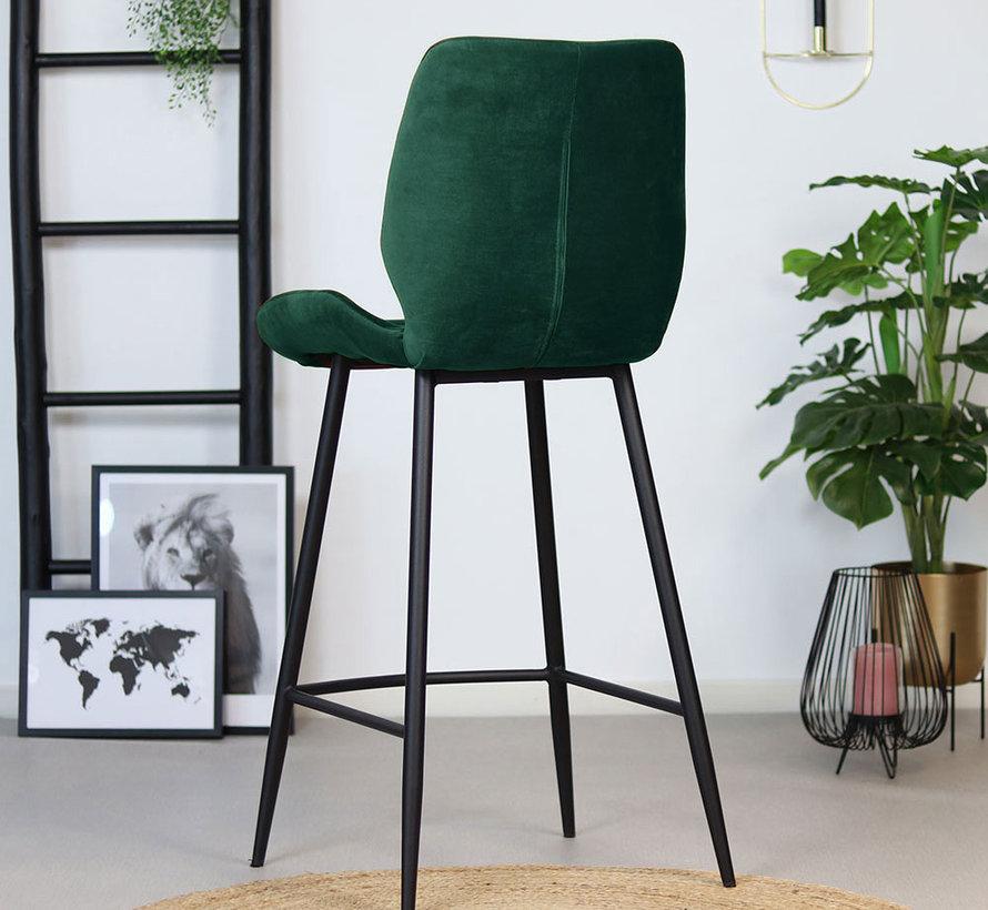 Gastro Barstuhl Samt Toby dunkelgrün 71 cm