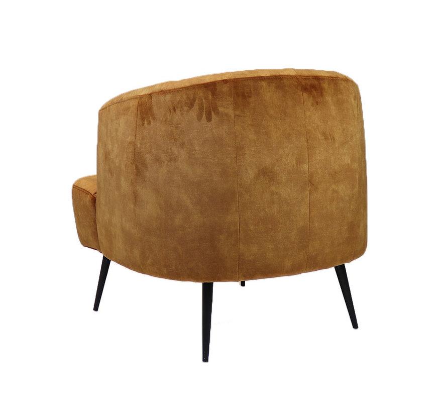 Samt Sessel Billy modern ockergelb/cognac