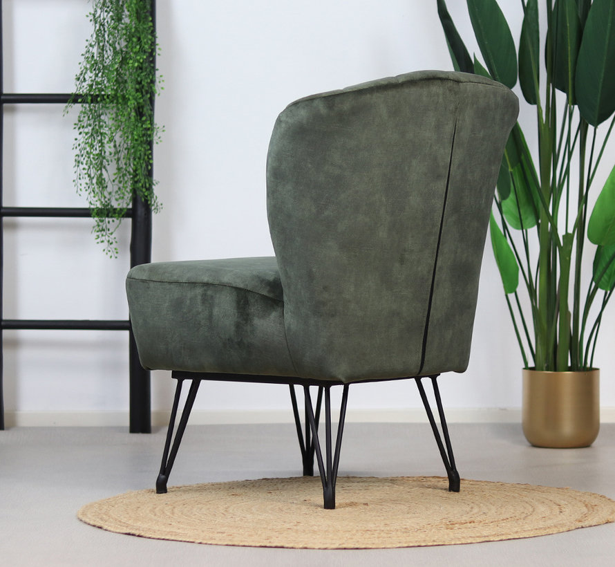Sessel Else Samt modern grün