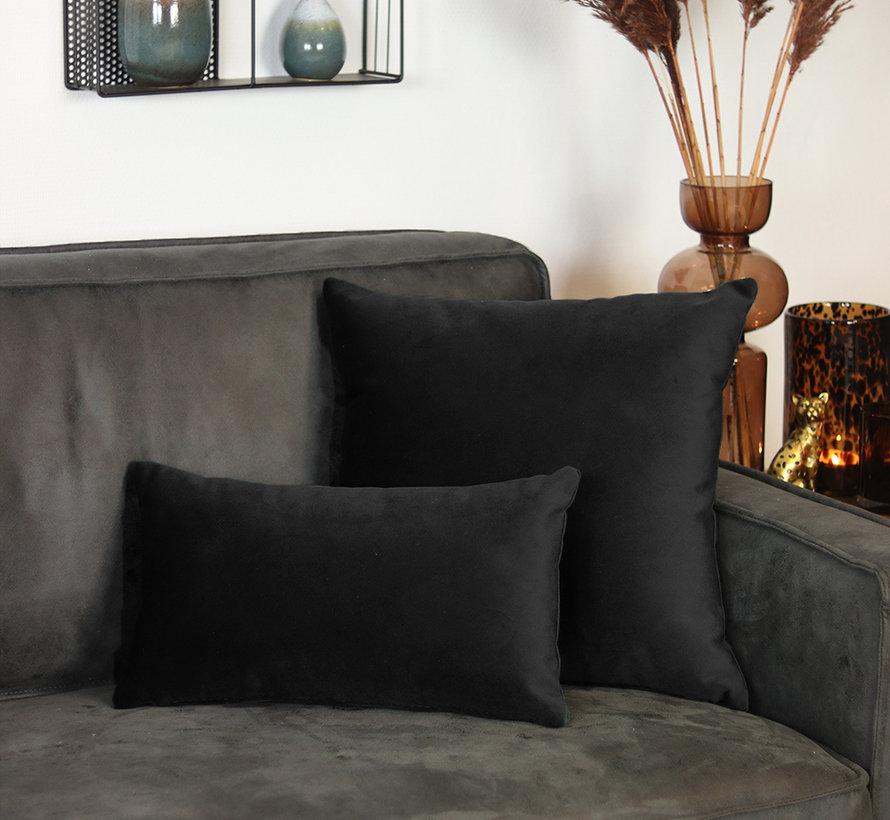 Samt Kissen Anna schwarz 25x45 cm