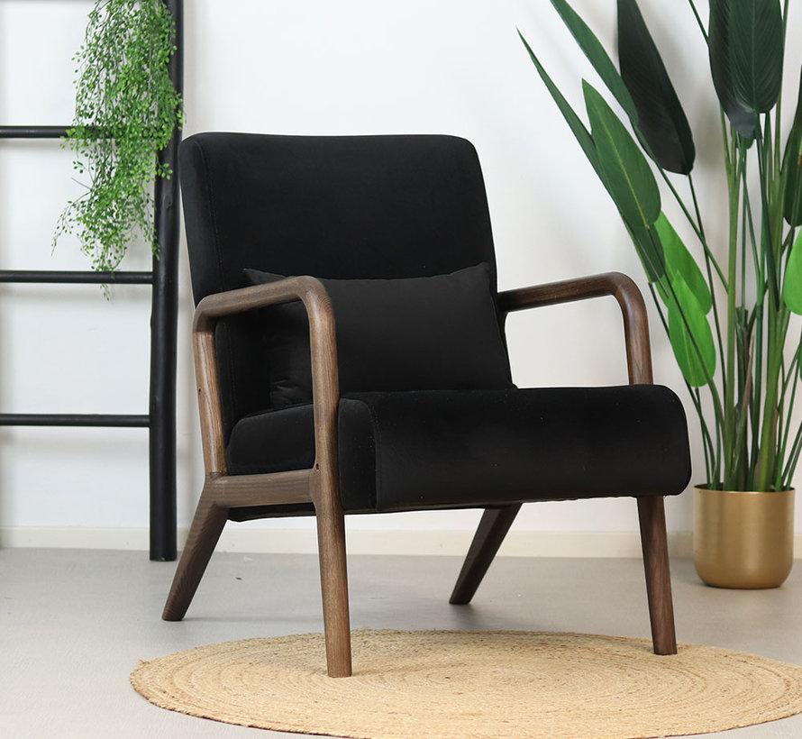 Samt Sessel Bibi schwarz mit Armlehne