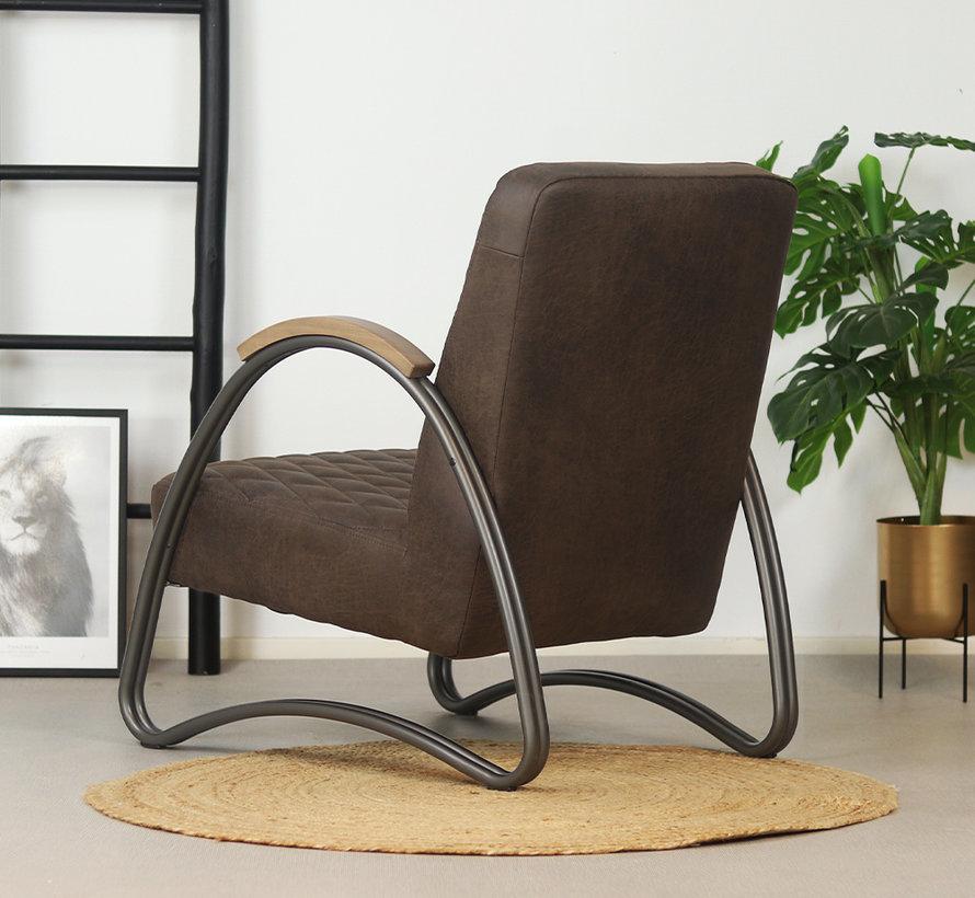Ledersessel Ivy Industrial Design Eco-Leder braun