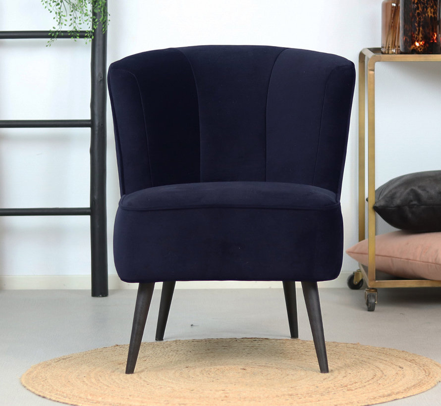 Samt Sessel Lyla modern dunkelblau