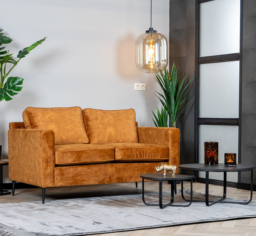 Samt Sofa 2-Sitzer Florida ockergelb/cognac