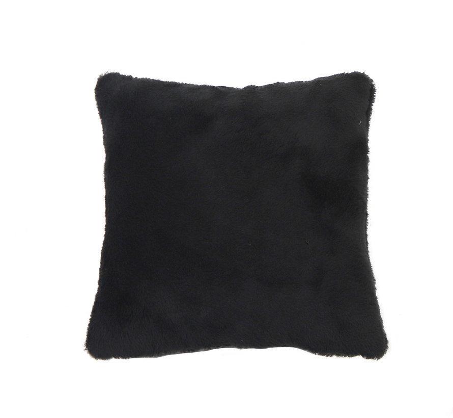 Teddy Kissen Tess schwarz 45x45 cm