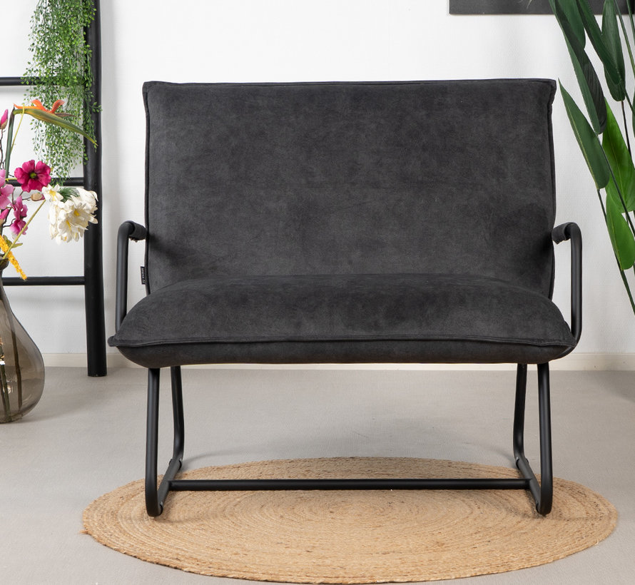 Samt Sessel Ohio mit Armlehne schwarz