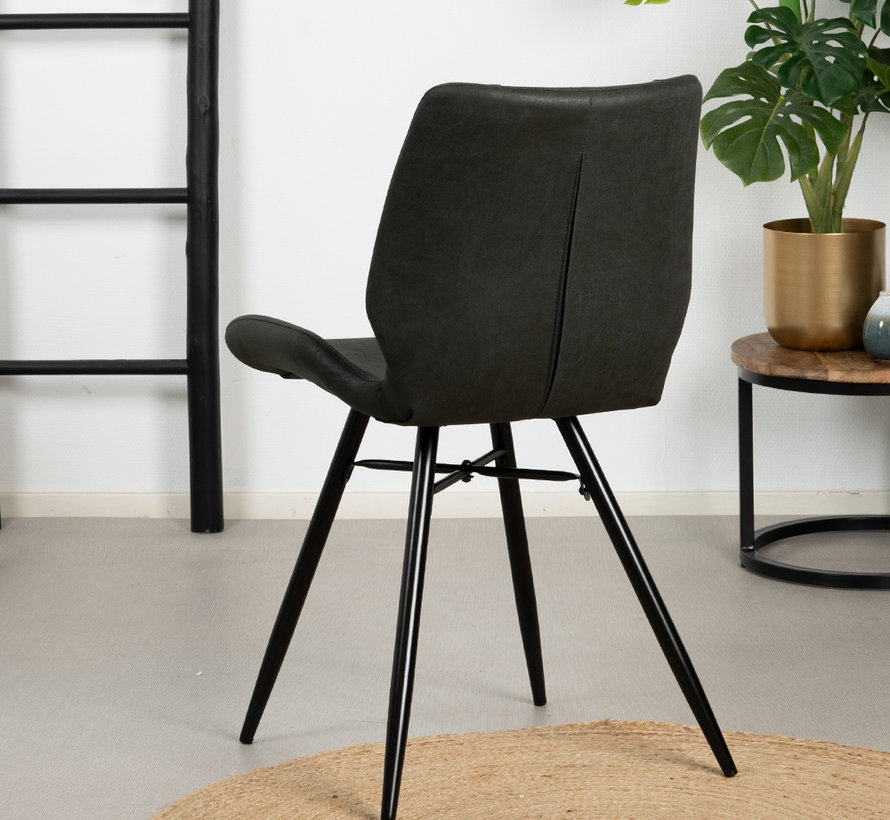 Stuhl Barrel Eco-Leder schwarz