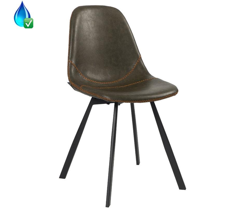 Gastro Stuhl Leder Luke olivgrün