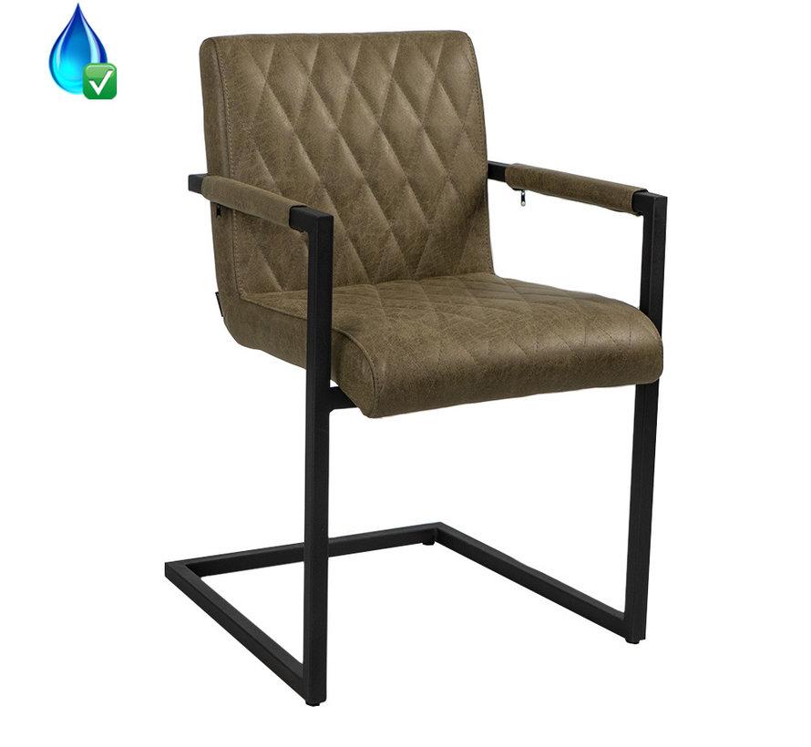 Stuhl Diamond mit Armlehne Eco-Leder olivgrün