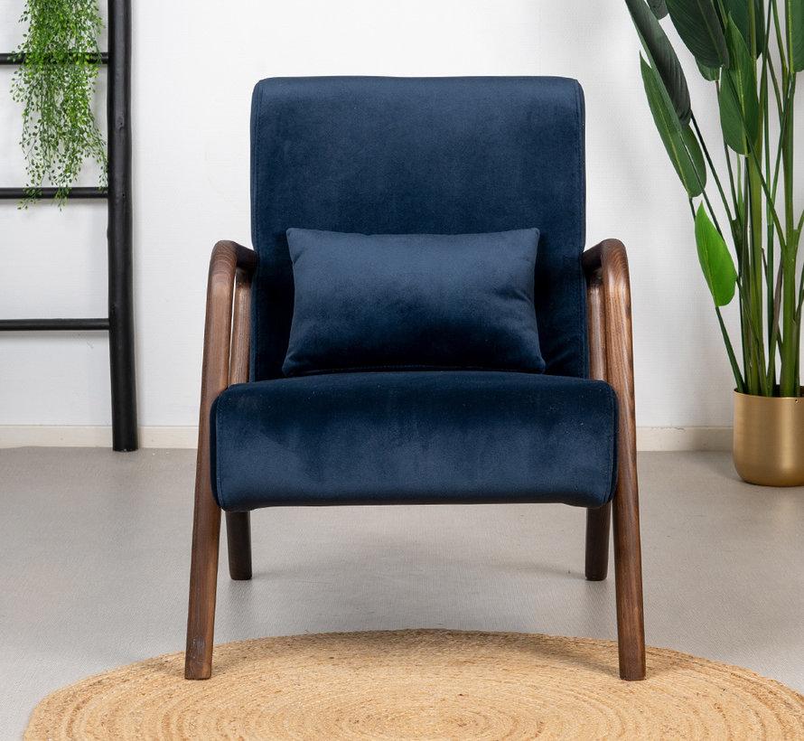 Samt Sessel Bibi blau mit Armlehne