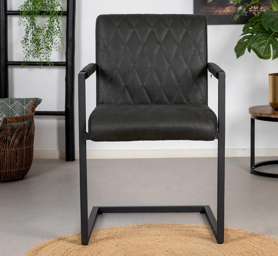 Stuhl Diamond mit Armlehne Eco-Leder schwarz
