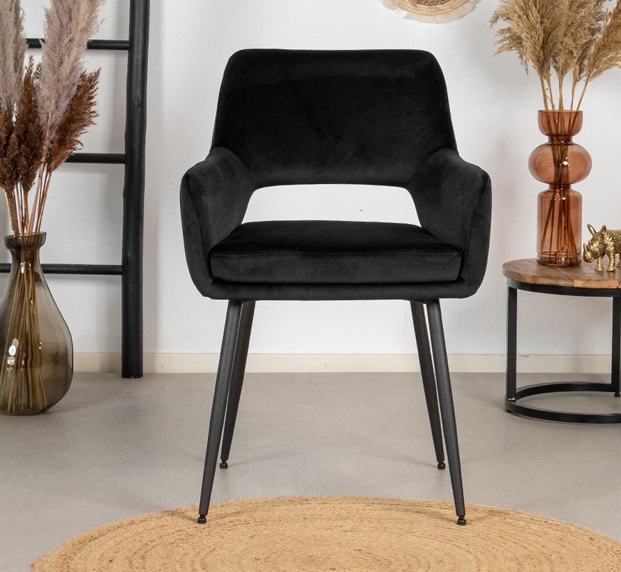 Gastro Stuhl Reno Samt schwarz
