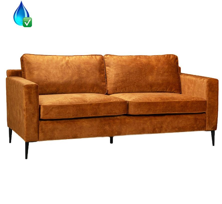 Samt Sofa 3-Sitzer Florida ockergelb/cognac