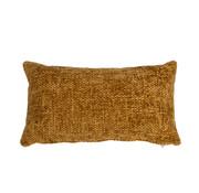 Kissen Feline Chenille Stoff ockergelb/cognac 25x45 cm