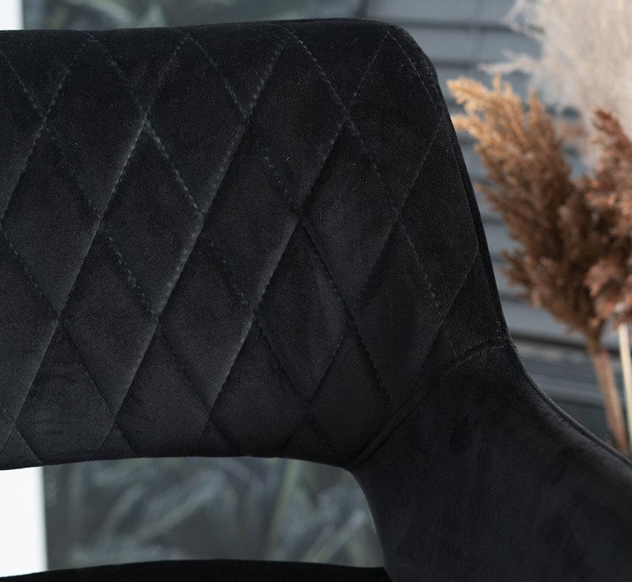 Barhocker Mika Samt schwarz 78 cm wasserabweisend