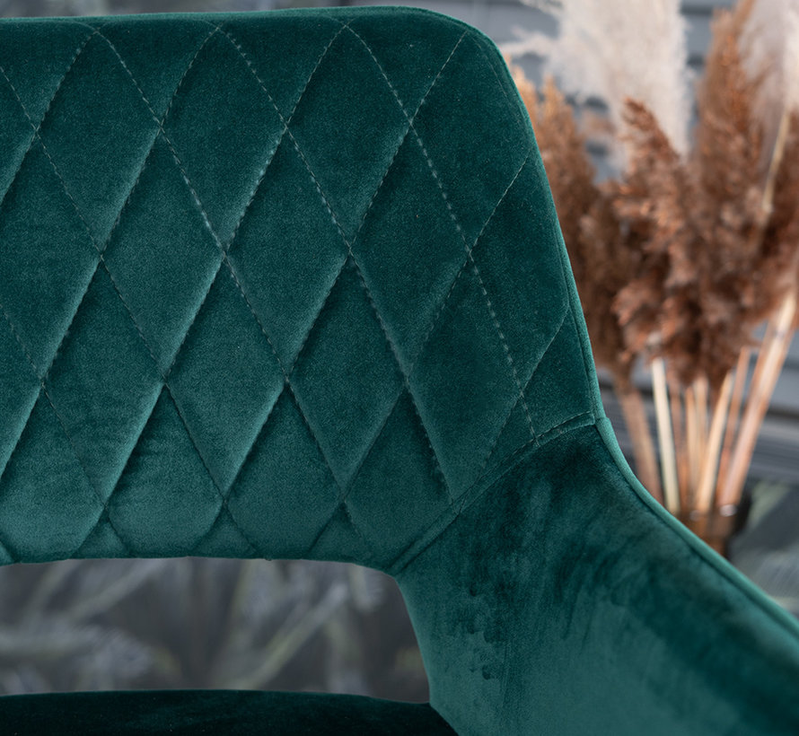 Barhocker Mika Samt dunkelgrün 78 cm wasserabweisend