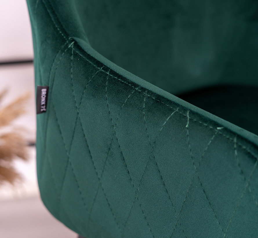 Barhocker Nelly Samt dunkelgrün 78 cm wasserabweisend