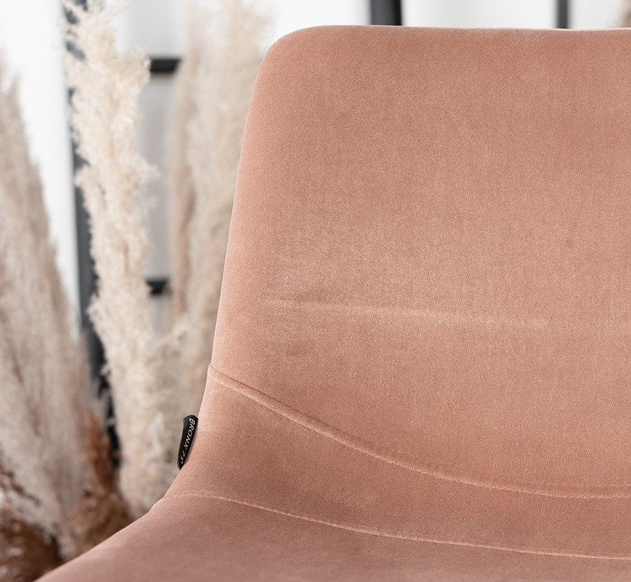 Gastro Barhocker Samt Frenkie rosa höhenverstellbar 59 - 76 cm