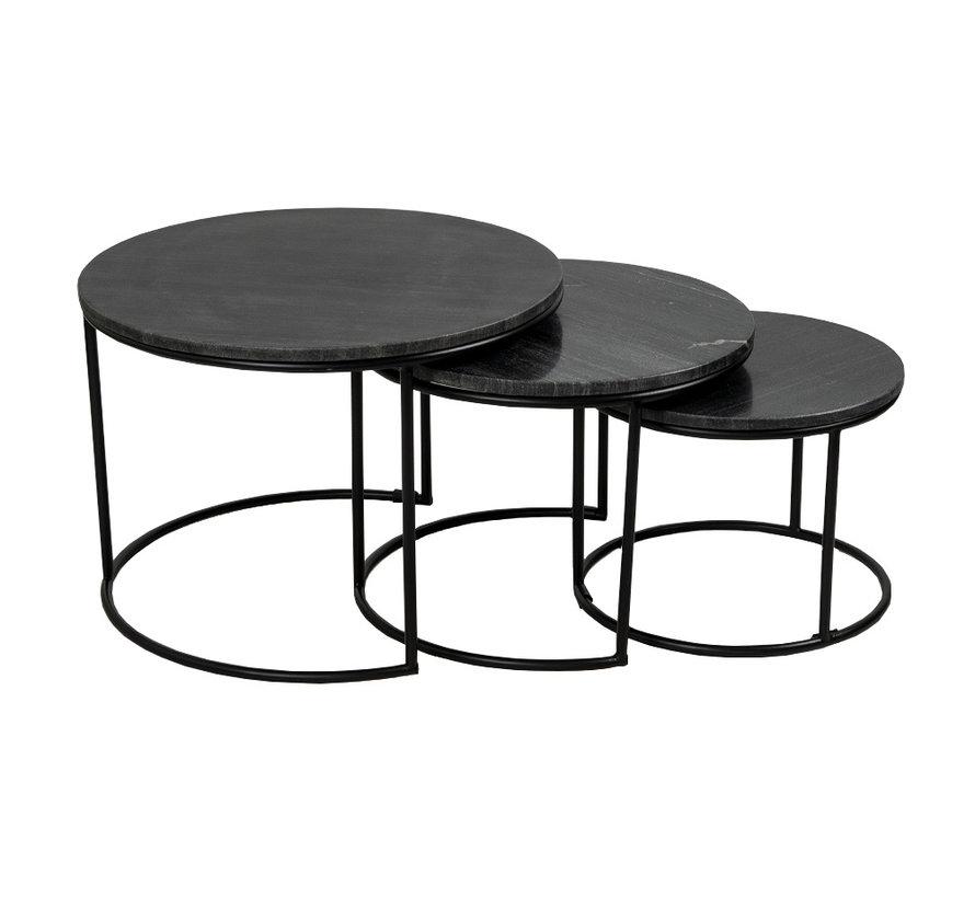 Loungetisch Set Bruce Marmor schwarz (3er Set)