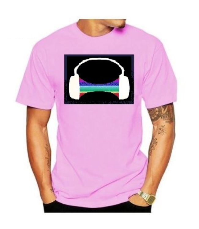 LED T-shirt Equalizer - Roze - Headphone