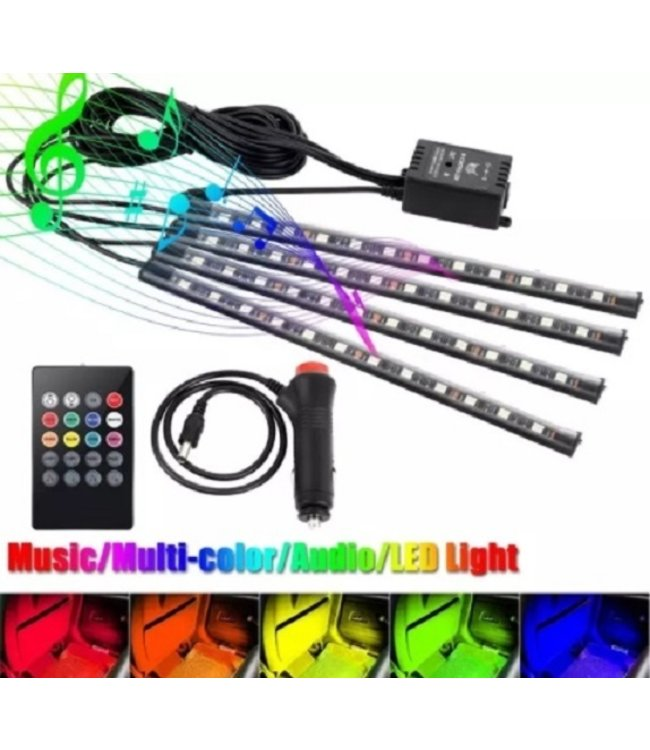LED Auto Interieur Verlichting RGB - Sound - Activated