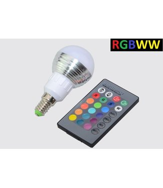LED Bollamp RGB + Warm Wit - 5 Watt - E14