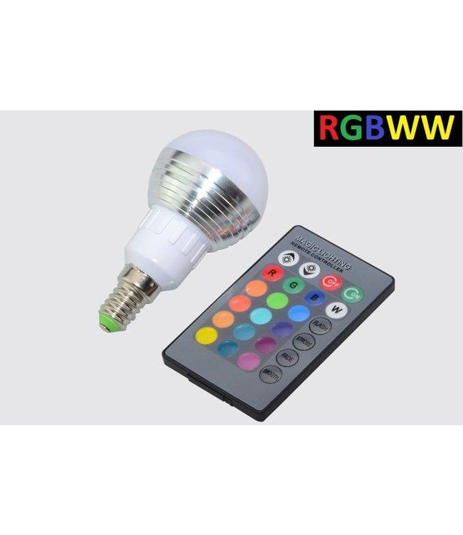 LED Bollamp RGB + Warm Wit - 5 Watt - E14