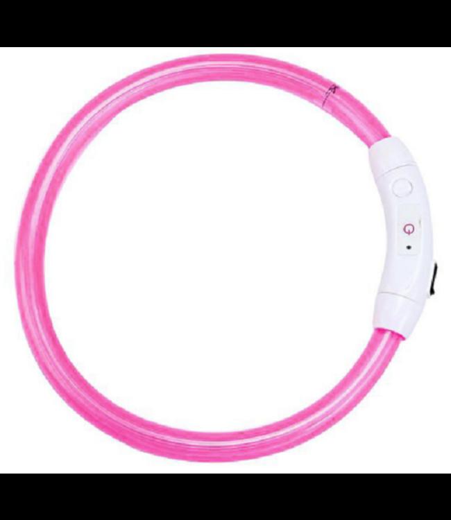 LED Hondenhalsband USB - Roze