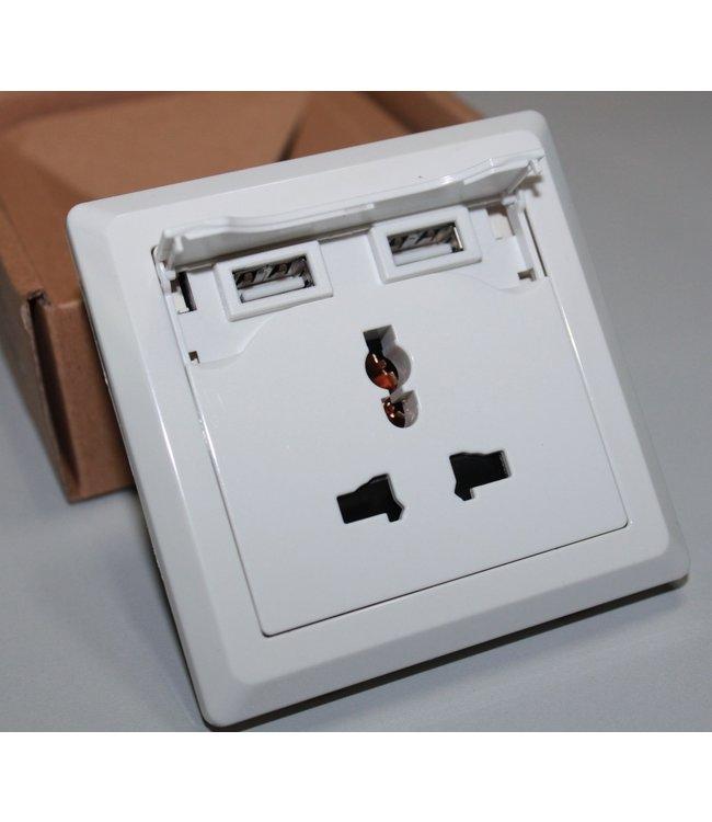Universeel Inbouw Stopcontact - 2x USB - Wit