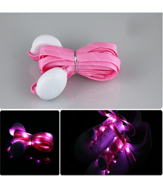 Lichtgevende  Nylon Veters - LED - Roze