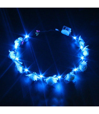 Lichtgevende Tiara / Haarband - LED - Roos - Blauw