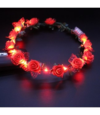 Lichtgevende Tiara / Haarband - LED - Roos - Rood