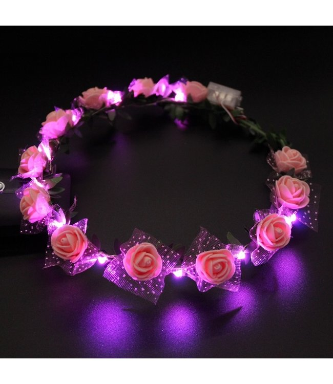 Lichtgevende Tiara / Haarband - LED - Roos - Roze