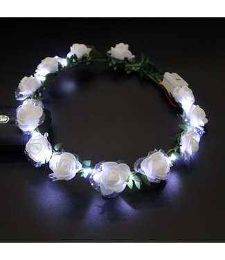 Lichtgevende Tiara / Haarband - LED - Roos - Wit