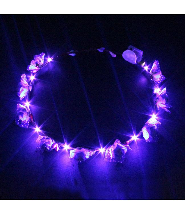 Lichtgevende Tiara / Haarband - LED - Roos - Paars