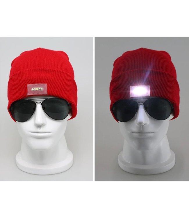 Lichtgevende Muts - LED - Rood