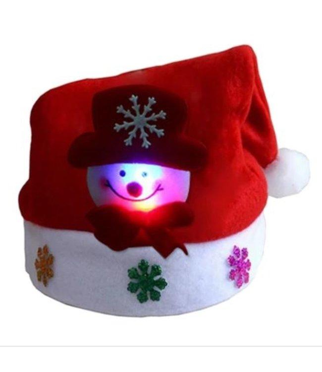 Lichtgevende Kerstmuts Sneeuwpop