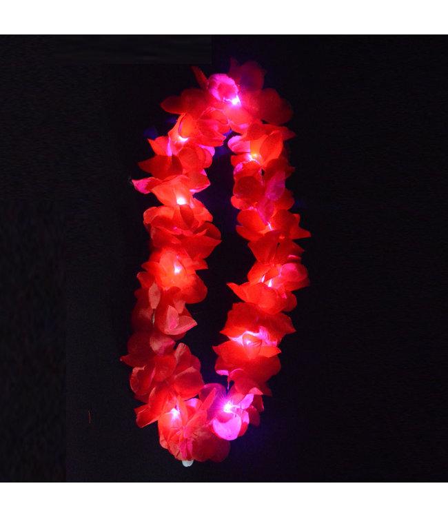 Lichtgevende Hawaii Ketting - LED - Rood