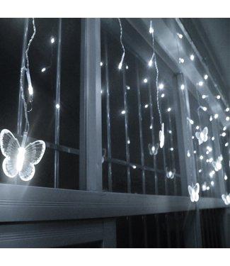 Kerst Gordijn Vlinder - 2 Meter - Koel Wit