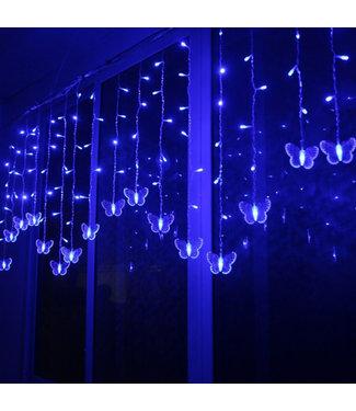 Kerst Gordijn Vlinder - 2 Meter - Blauw