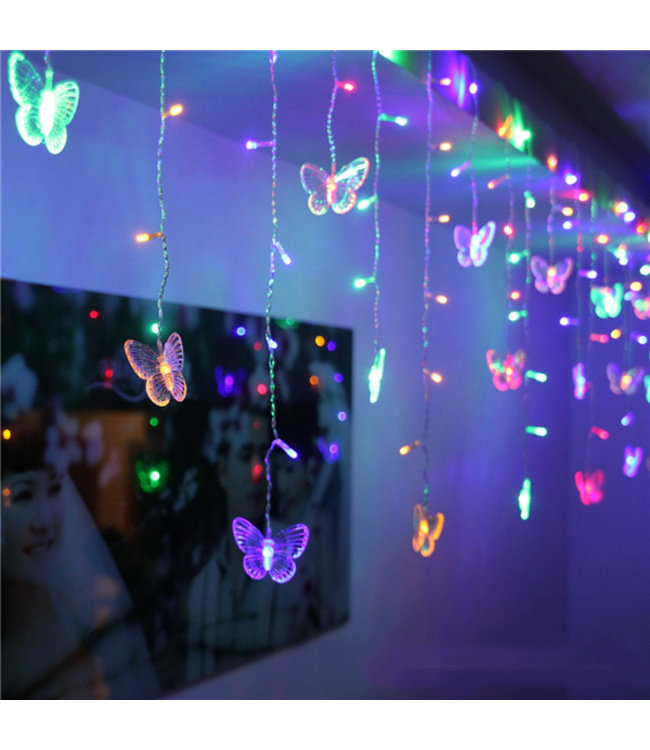 Kerst Gordijn Vlinder - 2 Meter - RGB