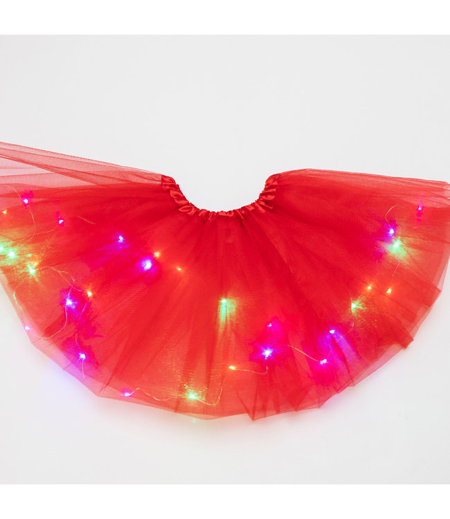 LED Rokje / Tutu Mini - Rood - Met Gekleurde RGB Verlichting