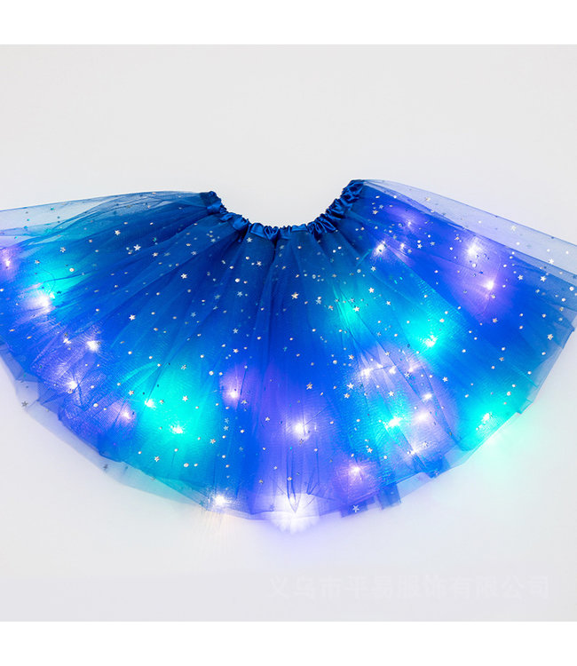 LED Rokje / Tutu Mini - Blauw - Met Gekleurde RGB Verlichting